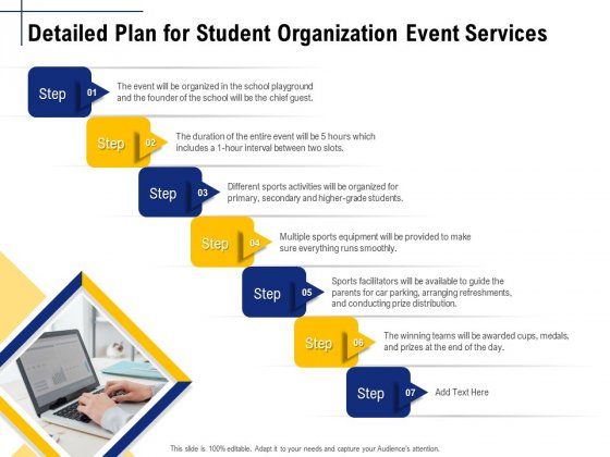 Student Club Event Planning Detailed Plan For Student Organization Event Services Ppt Model Templates PDF