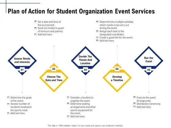 Student Club Event Planning Plan Of Action For Student Organization Event Services Ppt Styles Layouts PDF