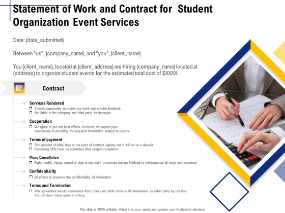Student Club Event Planning Statement Of Work And Contract For Student Organization Event Services Slides PDF