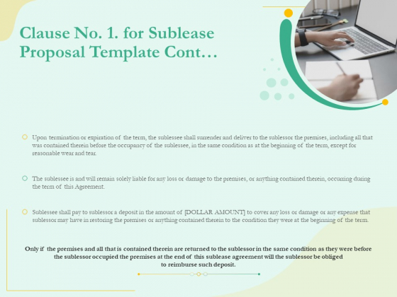 Sublease Agreement Clause No 1 For Sublease Proposal Template Cont Ppt Professional Guidelines PDF
