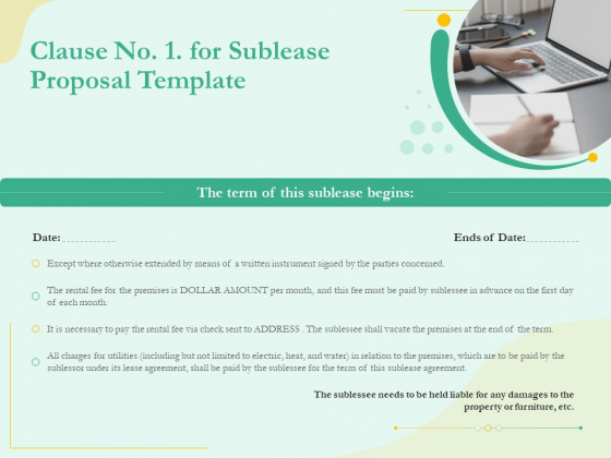 Sublease Agreement Clause No 1 For Sublease Proposal Template Ppt Summary Master Slide PDF