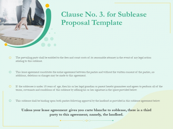Sublease Agreement Clause No 3 For Sublease Proposal Template Ppt Slides Pictures PDF