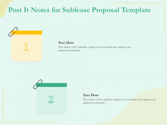 Sublease Agreement Post It Notes For Sublease Proposal Template Ppt Visual Aids Infographic Template PDF