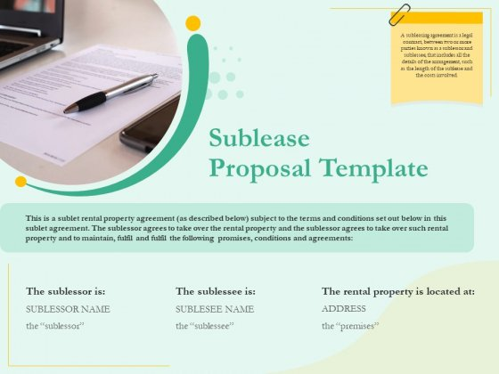 Sublease Agreement Sublease Proposal Template Ppt Portfolio Tips PDF