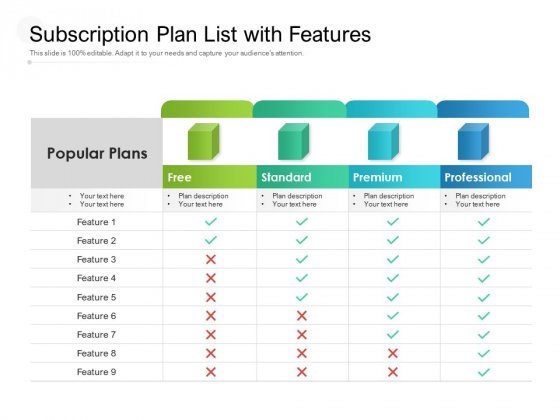 Subscription Plan List With Features Ppt PowerPoint Presentation Ideas Outline