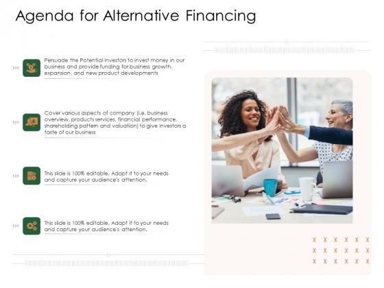 Substitute Financing Pitch Deck Agenda For Alternative Financing Elements PDF