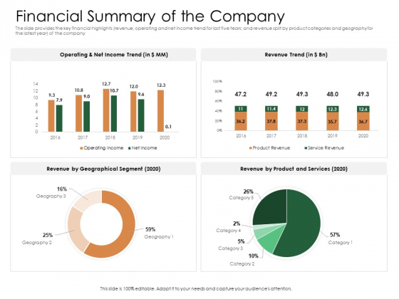 Substitute Financing Pitch Deck Financial Summary Of The Company Template PDF