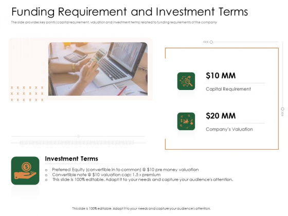 Substitute Financing Pitch Deck Funding Requirement And Investment Terms Brochure PDF