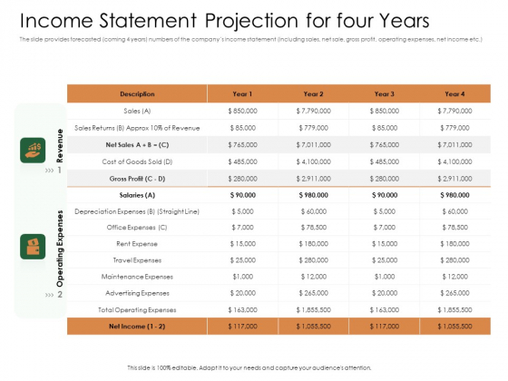 Substitute Financing Pitch Deck Income Statement Projection For Four Years Background PDF