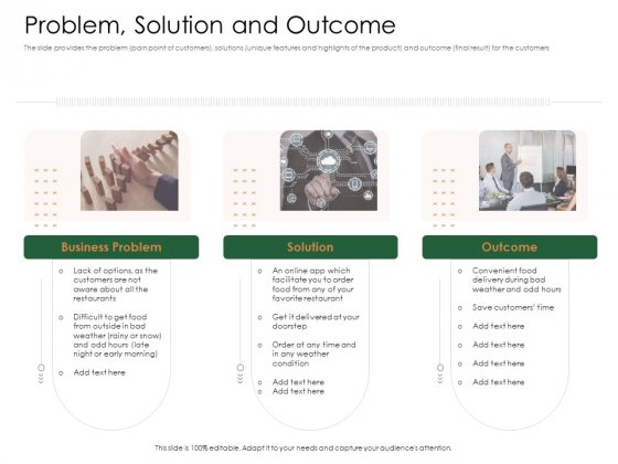 Substitute Financing Pitch Deck Problem Solution And Outcome Themes PDF