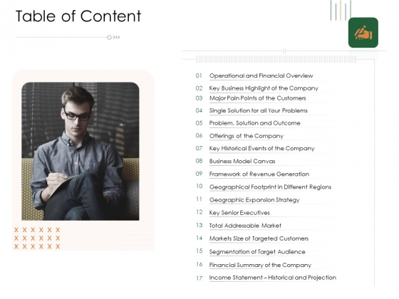 Substitute Financing Pitch Deck Table Of Content Business Background PDF