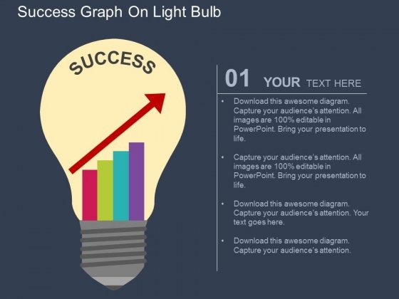 success graph on light bulb powerpoint templates - powerpoint, Powerpoint templates