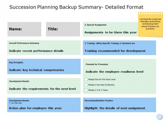 Succession Planning Backup Summary Detailed Format Marketing Ppt Powerpoint Presentation Pictures Skills