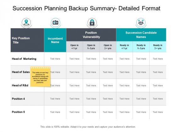 Succession Planning Backup Summary Detailed Format Planning Ppt PowerPoint Presentation Layouts Summary