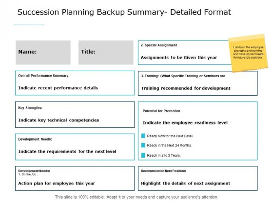 Succession Planning Backup Summary Detailed Format Ppt PowerPoint Presentation Infographic Template Structure