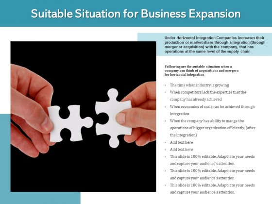 Suitable Situation For Business Expansion Ppt PowerPoint Presentation File Example Introduction PDF