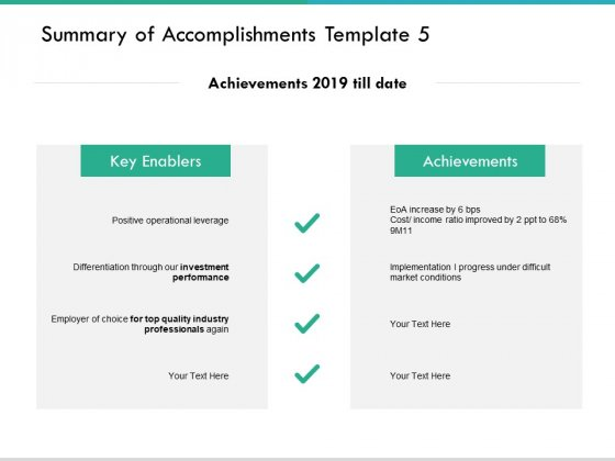 Summary Of Accomplishments Template Performance Ppt PowerPoint Presentation Slides Layouts