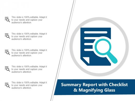 Summary Report With Checklist And Magnifying Glass Ppt Powerpoint Presentation Gallery Infographics