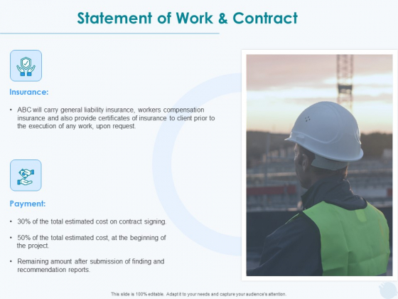 Sun Energy Dealing Statement Of Work And Contract Ppt Summary Deck PDF