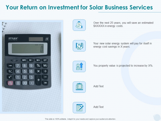 Sun Energy Dealing Your Return On Investment For Solar Business Services Ppt Gallery Design Templates PDF