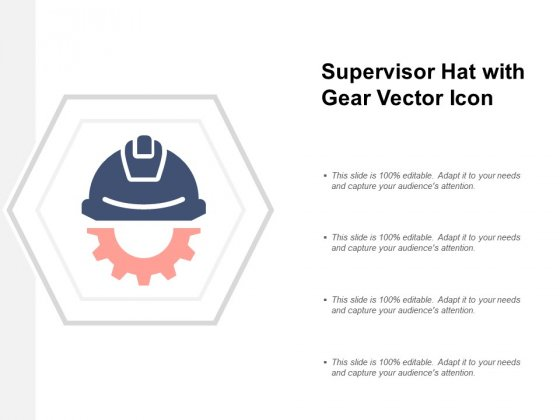 Supervisor Hat With Gear Vector Icon Ppt PowerPoint Presentation Slides Example Introduction