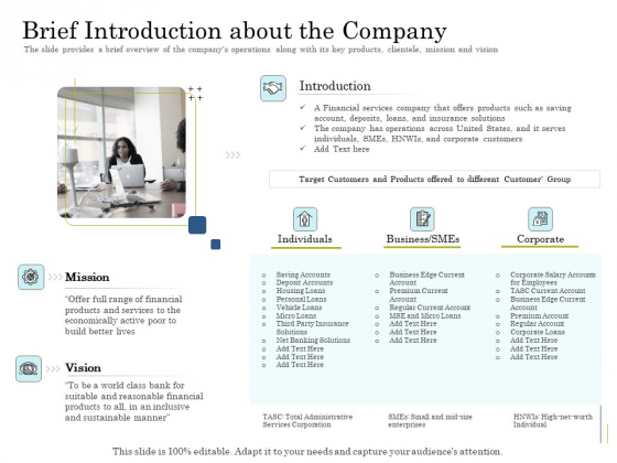 Supplementary Debt Financing Pitch Deck Brief Introduction About The Company Ideas PDF