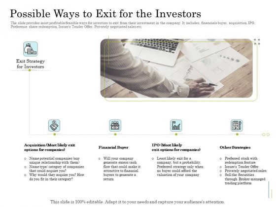 Supplementary Debt Financing Pitch Deck Possible Ways To Exit For The Investors Microsoft PDF