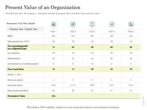 Supplementary Debt Financing Pitch Deck Present Value Of An Organization Infographics PDF