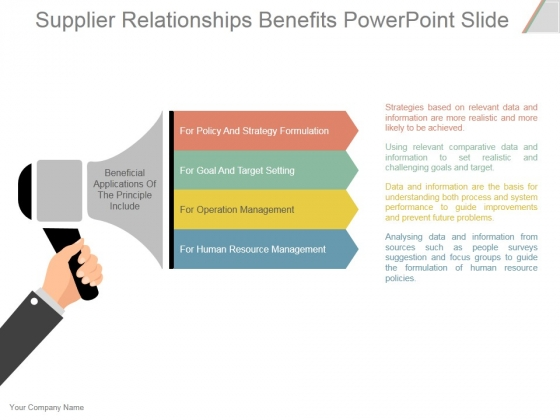 Supplier Relationships Benefits Ppt PowerPoint Presentation Ideas