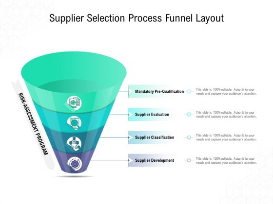 Supplier Selection Process Funnel Layout Ppt PowerPoint Presentation Inspiration Background Image
