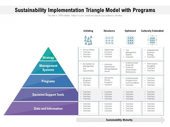 Sustainability Implementation Triangle Model With Programs Ppt PowerPoint Presentation File Templates PDF
