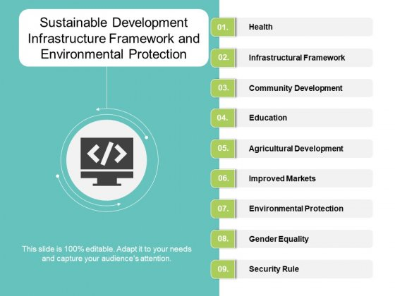 Sustainable Development Infrastructure Framework And Environmental Protection Ppt Powerpoint Presentation Infographic Template Examples