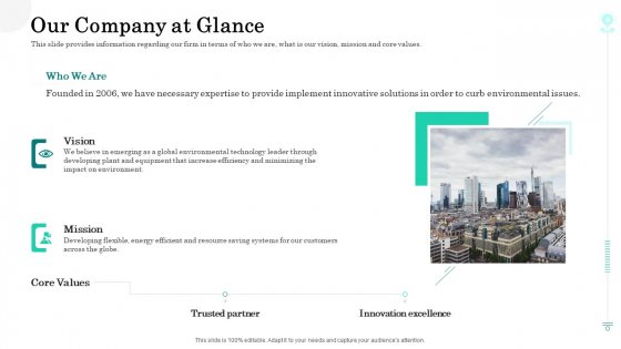 Sustainable Green Manufacturing Innovation Our Company At Glance Information PDF