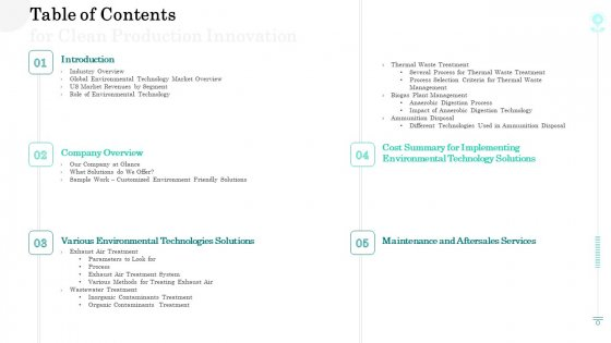 Sustainable Green Manufacturing Innovation Table Of Contents For Clean Production Innovation Portrait PDF