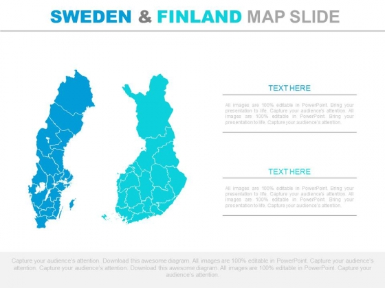Sweden And Finland Map For Business Analysis Powerpoint Slides