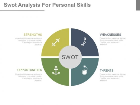 Swot Analysis Diagram With Icons Powerpoint Slides