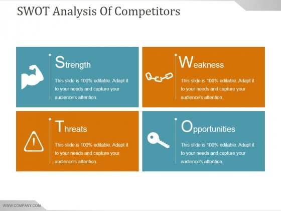 Swot Analysis Of Competitors Ppt PowerPoint Presentation Icon