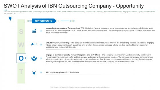 Swot Analysis Of Ibn Outsourcing Company Opportunity Diagrams PDF