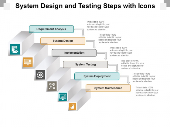 System Design And Testing Steps With Icons Ppt PowerPoint Presentation Outline Slide Download
