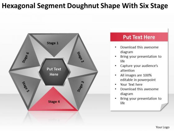 Sagment Doughnut Shape With Six Stage Ppt Components Of Business Plan PowerPoint Slides