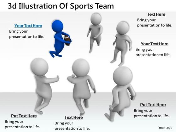 Sales Concepts 3d Illustration Of Sports Team Character Modeling