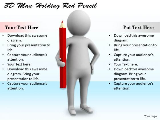 Sales Concepts 3d Man Holding Red Pencil Character