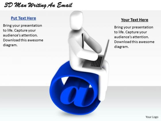 Sales Concepts 3d Man Writing Email Business Statement
