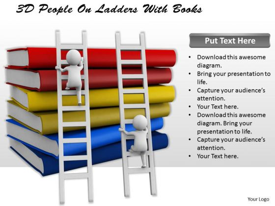 Sales Concepts 3d People Ladders With Books Character Models