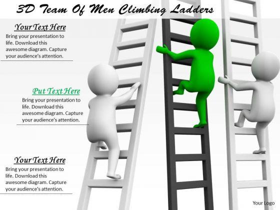 Sales Concepts 3d Team Of Men Climbing Ladders Business Statement