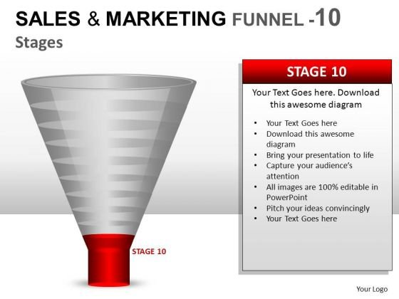 Sales Conversion Funnel With 10 Stages Ppt Diagrams Slides