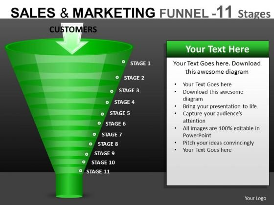 Sales Conversions Funnels Diagrams For PowerPoint