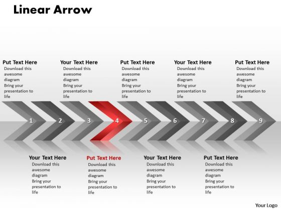 Sales PowerPoint Template Linear Arrows 9 Stages Project Management Business Graphic