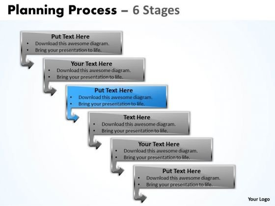 Sales Ppt Template Organizable Process 6 Steps Communication