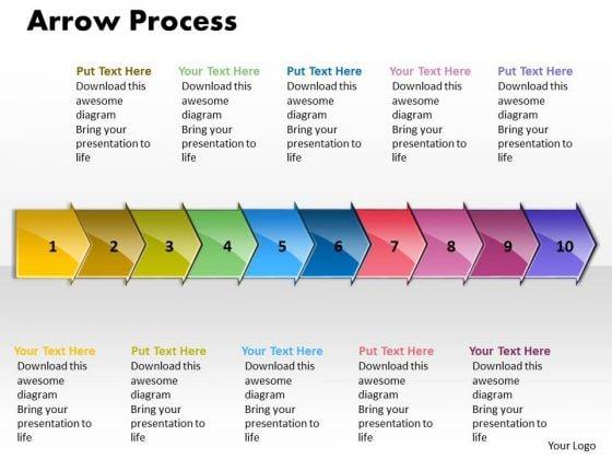 Sales Ppt Theme Arrow Process 10 States Diagram Business Communication PowerPoint Graphic